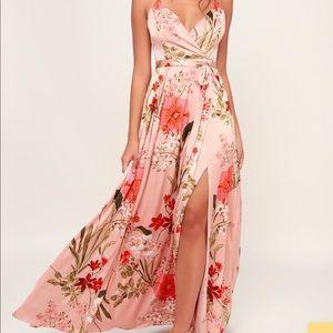Lulu's | Pink floral maxi dress